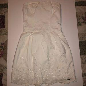 Hollister White Tube Floral Eyelet Dress
